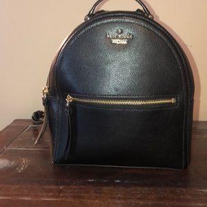 Black leather Kate Spade mink backpack